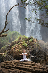 Serenity and yoga practicing at Elephant Waterfall, Vietnam