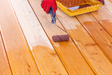 Painting a terrace board impregnation water proofing