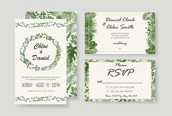 Wedding Invitation, rsvp modern card Design. Vector natural, botanical, elegant template.