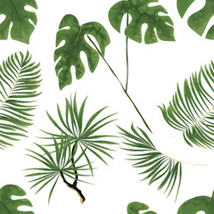 seamless pattern of bright green tropical leaves on white background.Vector Tropical palm leaves seamless pattern. Jungle floral ornamental background. Florals for your poster, banner flayer.
