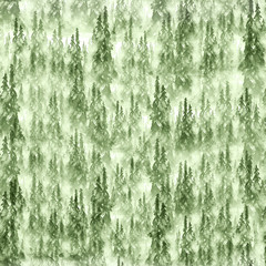 Seamless watercolor pattern, background. dark, gray, green silhouette of trees, spruce, pine, cedar. Abstract scenic forest landscape.