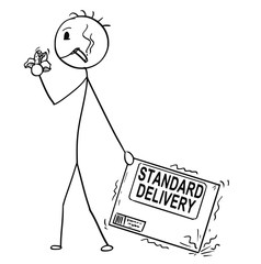 Cartoon stick man drawing conceptual illustration of bad and unmotivated man or businessman negligently pulling the carton box. Business concept of standard quality or poor delivery service.