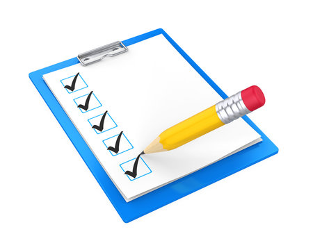 Clipboard Checklist with Pencil Isolated