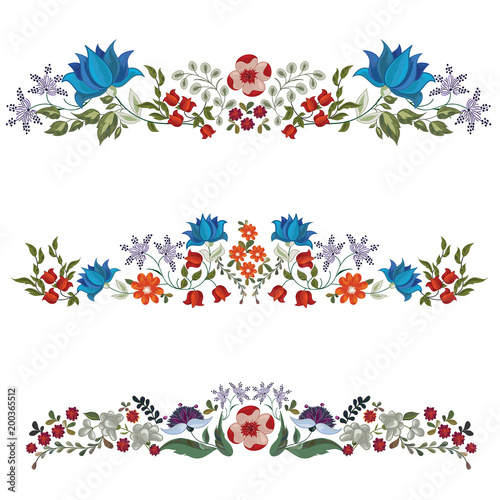 Decorative Floral Elements With Spring Flowers Frames And Borders