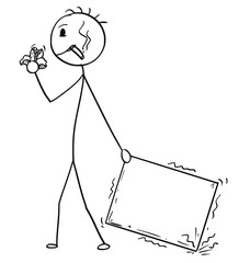 Cartoon stick man drawing conceptual illustration of bad and unmotivated man or businessman negligently pulling the carton box. Business concept of poor delivery service. Usable as empty or blank sign