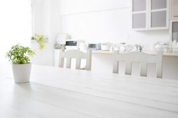 White kitchen background