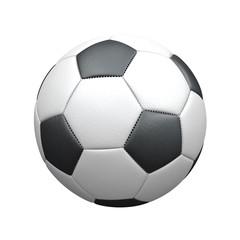 Klassischer Fußball aus Leder auf weißem Hintergrund