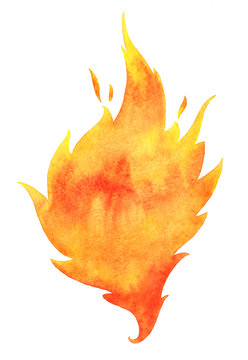 Watercolor fire with tongues of flame isolated on white. Background, template for text or lettering. Hand drawn yellow and orange aquarelle burning bonfire, campfire silhouette with sparks.