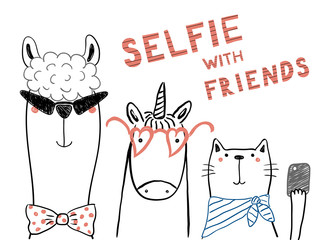 Foto auf Leinwand Abbildungen Hand drawn portrait of a cute funny unicorn, llama, cat, taking selfie together. Isolated objects on white background. Line drawing. Vector illustration. Design concept for children print.