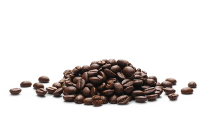 Pile coffee beans isolated on white background and texture