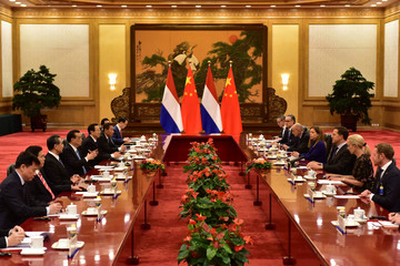 Netherlands' PM Mark Rutte meets Chinese Premier Li Keqiang at the Great Hall of the People in Beijing