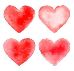 Set of Colorful Red Watercolor Hearts. Vector illustration
