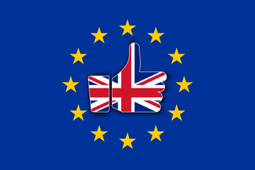 Great Britain flag thumbs up with shadow on European Union flag. Brexit or United Kingdom exit symbol