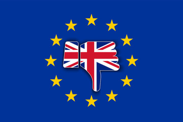 Great Britain flag thumbs down with shadow on European Union flag. Brexit or United Kingdom exit symbol