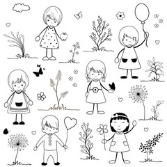 Cute happy cartoon kids on white background