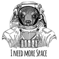 Buffalo, bison,ox, bull Astronaut. Space suit. Hand drawn image of lion for tattoo, t-shirt, emblem, badge, logo patch kindergarten poster children clothing