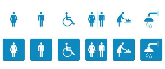 WC & Toiletten - Piktogramme (in Blau)