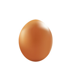 brown egg. realistic isolated on white. Vector illustration. 3D template.