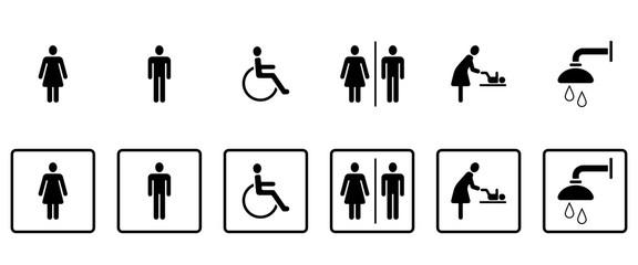 WC & Toiletten - Piktogramme (in Schwarz)