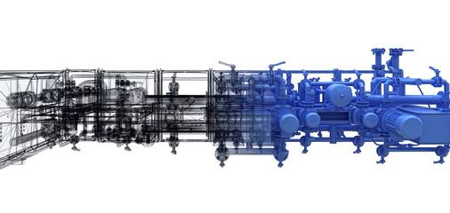Attrezzatura industriale, Impianto di pompaggio, tubi, BIM, illustrazione 3d
