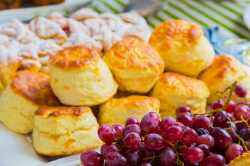 Breakfast Danish pastry and scone - Danish pastry and chocolate chip scone for catering at Spring Festival picnic event