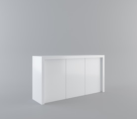 white desk or counter with Clipping Path. 3d rendering
