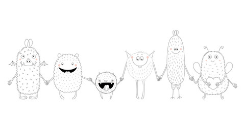Poster Illustrations Hand drawn black and white vector illustration of of cute funny monsters smiling and holding hands. Isolated objects. Design concept for children coloring pages.