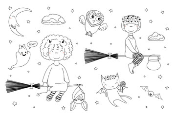Hand drawn black and white vector illustration of cute funny witch girls flying on broomsticks, bat, ghost, owl, cat with wings, moon. Isolated objects. Design concept for children coloring pages.