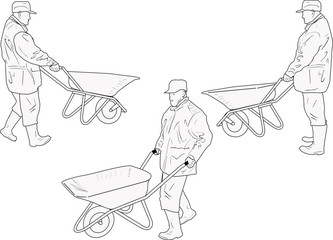 worker with wheelbarrow three sketches isolated on white