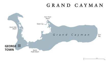 Grand Cayman political map with capital George Town. Largest of the Cayman Islands. British Overseas Territory in western Caribbean Sea. English labeling. Gray illustration on white background. Vector