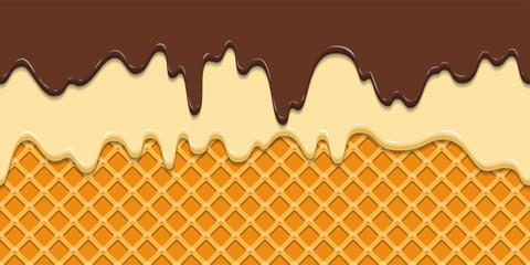 Seamless pattern. Current icing and chocolate on waffle texture background, waffle cone with ice cream. Cartoon illustration for web, site, advertising, banner, poster, flyer, business card. Vector