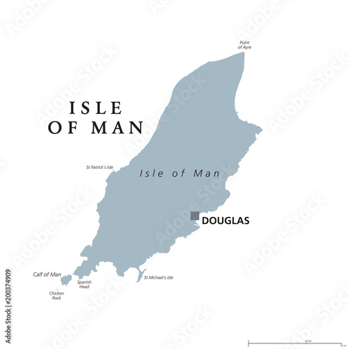 Isle Of Man Political Map With Capital Douglas Also Known As Mann - Map Of Northeast Us With Capitals
