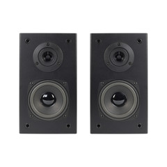 Music and sound - Two front view loudspeaker enclosure. Isolated