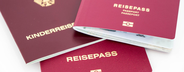 different german passports with the german word Reisepass