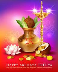 Greeting card with kalash and gold coins for Indian festival Akshya Tritiya. Vector illustration.