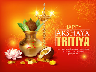 Greeting background with kalash and gold coins for Indian festival Akshya Tritiya. Vector illustration.