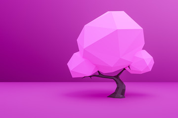 a pink low poly tree background