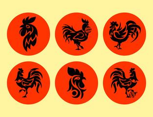 Rooster logo cock vector cute cartoon illustration new year 2017 badges bird symbol farm animal hen cockerel chinese silhouette.