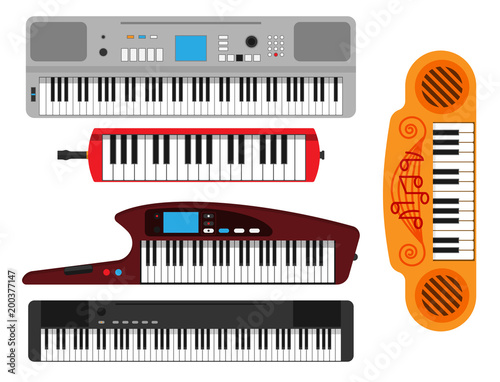 Keyboard musical instruments vector classical piano melody studio