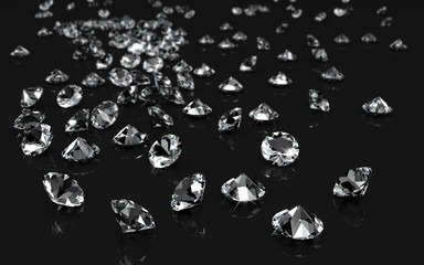 Funkelnde  Diamanten auf schwarzer spiegelnder Oberfläche