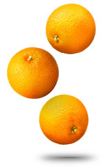 Falling oranges fruit isolated on white background with clipping path