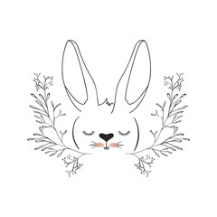 cute rabbit head with wreath easter celebration