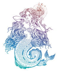 Beautiful mermaid girl with fairytale heart art.