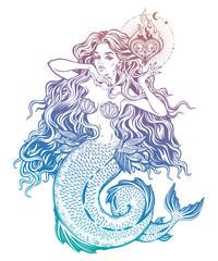 Beautiful mermaid girl with fairytale heart art.