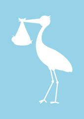Baby Card Stork Boy Silhouette
