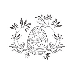 happy easter egg paint with wreath