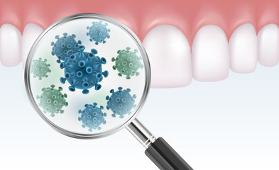Vector realistic illustration of teeth with magnifier showing bacteria