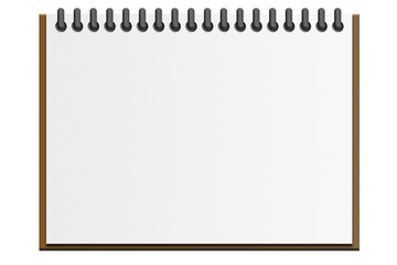 Bloc de notas sobre fondo blanco.