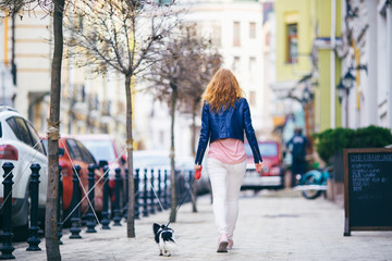 A young red-haired Caucasian woman is walking along a European street with a small Chihuahua breed dog of two colors on a leash rear view. Girl Dressed in a leather jacket and pink shoes