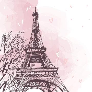 Eiffel tower vector illustration isolated on white. Vector Parisian pink illustration. French landmark  isolated